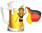 A big mug of beer at the back of a lady holding the flag of Germ — Stock vektor