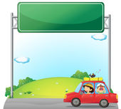 A car driven by a woman near an empty signage — Stock Vector