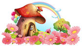 A mushroom house with a garden of flowers — Stock Vector