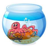 An octopus inside an aquarium — Stock Vector