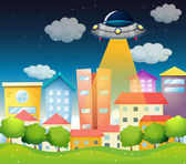 A spaceship above the buildings — Stock Vector