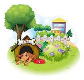 собака внутри собачью будку через больших зданий — Cтоковый вектор