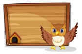 An owl in front of an empty board — Stock Vector