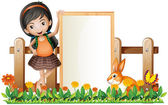 A girl standing beside an empty frame with a bunny — Stock Vector
