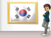 A framed flag of Korea and the young man — Stock Vector