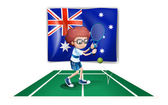 An Australian flag at the back of a tennis player — Stock Vector