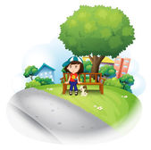 A girl sitting at the wooden bench near the big tree — Stock Vector