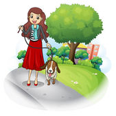A woman with her dog at the road — Stock Vector