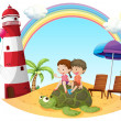 Kids playing with the turtle at the seashore - Stock Vector