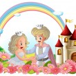 The king and queen in front of their castle - Imagens vectoriais em stock