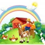 A boy riding in his farm cart — Stock Vector #22821214