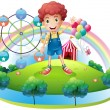 Stock Vector: Boy near amusement park