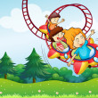 Three kids riding in the roller coaster — Stock Vector
