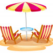 A stripe beach umbrella and the two wooden chairs — Stock Vector