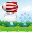 Royalty-Free Stock Vector Image: A red and white airship carrying an empty banner