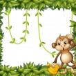 A  frame of leaves with a monkey and bananas — Stock Vector