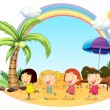 Young women at the beach — Stock Vector