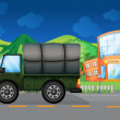 Royalty-Free Stock Vector Image: A cargo truck near the school