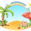 A pig relaxing at the beach — Stock Vector