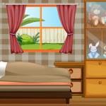 A boy sleeping in his bedroom — Stock Vector #22821396