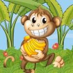 A happy monkey with bananas — Stock Vector #22821400