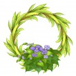 Stock Vector: A round frame made of plants with violet flowers