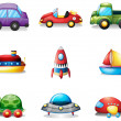 Nine different kind of toy transportations - Imagen vectorial