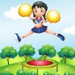 A cheerleader jumping — Stock Vector
