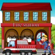 A fireman and a fire truck in front of the fire station — Stock Vector