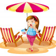 Stock Vector: A fat girl holding a juice near the beach umbrella with chairs