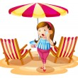 A fat girl holding a juice near the beach umbrella with chairs — Stock Vector
