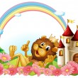A lion wearing a crown beside the castle - Imagen vectorial