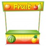 A wooden fruit cart — Stock Vector