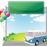 A bus near an empty board with balloons — Stock Vector