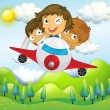 Stock Vector: An airplane with three playful kids