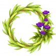 A round frame with violet flowers — Stock Vector
