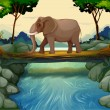 An elephant crossing the river — Stock Vector #22821722