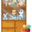 Stock Vector: A cabinet full of toys