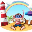 A monkey with goggle at the beach — Stock Vector