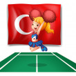 The flag of Turkey and the energetic cheerdancer — Stock Vector