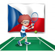 A boy playing tennis in front of the Czech Republic flag - 图库矢量图片