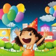 Stock Vector: A happy little girl celebrating her birthday