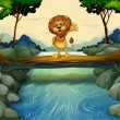 A lion standing at the trunk above the flowing river — Imagens vectoriais em stock