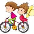 A girl and a boy riding in a fast moving bike — Stock Vector