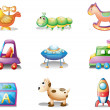 Stock Vector: Nine different toys for children