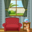 A cat looking at the fish inside the house - Stock Vector