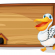 A duck dancing beside a wooden blank board  — Stock Vector