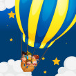 Stock Vector: Six kids riding in the air balloon