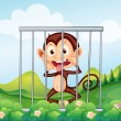 A monkey inside the cage — Stock Vector