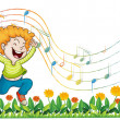 A boy dancing in the garden with musical notes - Stock Vector